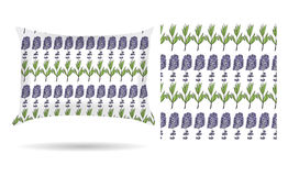 Decorative pillow with lavender flowers patterned pillowcase in an elegant, gentle style on a white background. Isolated on white. Stock Photos