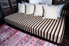 Decorative pillow natural fabric. A decorative pillow natural fabric royalty free stock photos