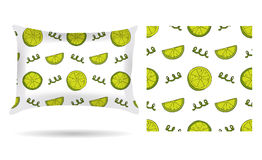Decorative pillow with pillowcase lemons in an elegant, gentle style on a white background. Isolated on white. Interior design ele Royalty Free Stock Image