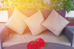 Decorative of pillows on casual sofa in living room Stock Photography