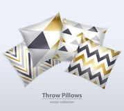 Decorative Pillows Patterns Realistic Set Royalty Free Stock Images
