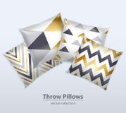 Decorative Pillows Patterns Realistic Set Stock Images