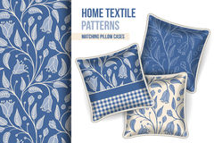 Decorative pillows set with large blue flowers pattern Royalty Free Stock Photography