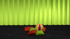 Decorative pillows with softball. On black carpet floor in front of a green curtain. 3d rendering vector illustration