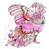 Decorative pink bird Stock Image