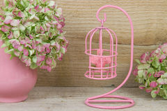 Decorative pink birdcage Stock Photo