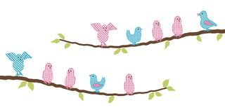 Decorative pink and blue birds on the branch of tree. Vector illustration on a white background royalty free illustration