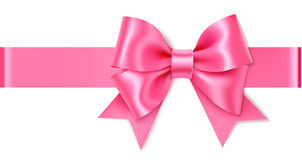 Decorative pink bow with horizontal ribbon. Vector bow for page decor isolated on white Stock Images