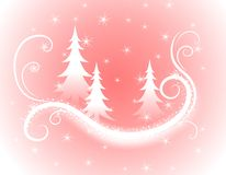 Decorative Pink Christmas Trees Background. A background illustration featuring swirling wispy lines, silhouette Christmas trees, snowflakes and stars set Royalty Free Stock Photos