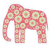 Decorative pink elephant with floral patterns Royalty Free Stock Photography