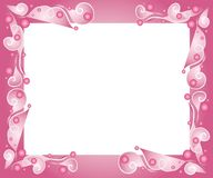 Decorative Pink Frame Border. A decorative background, frame or border with swirling lines and circles in pink and white colors Royalty Free Stock Photo