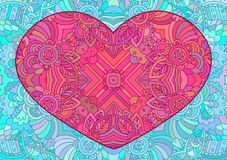 Decorative pink heart. Vector template mandala for decorating greeting cards of Valentine`s day, coloring books, print for t-shirt and textile Royalty Free Stock Images