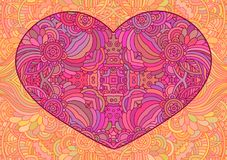 Decorative pink heart. Vector template mandala for decorating greeting cards of Valentine`s day, coloring books, print for t-shirt and textile Royalty Free Stock Image