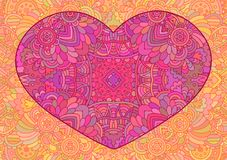Decorative pink heart. Vector template mandala for decorating greeting cards of Valentine`s day, coloring books, print for t-shirt and textile Stock Photo