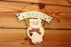 Decorative pink pig Stock Photos