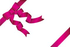 Decorative pink ribbons with bow  banner in the corner diagonall. Y. With copy space  on white. Vector. For a holiday or a party Royalty Free Stock Images