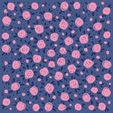 Decorative pink roses on a dark blue background. stock illustration
