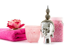 Decorative pink wellness with rose and buddha Royalty Free Stock Image