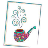 Decorative pipe for smoking with smoke in cartoon style Royalty Free Stock Images