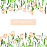 A decorative place (banner) with an ornament of the watercolor spring pink flowers for a text, wedding invitation Stock Photography