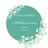 A decorative place (banner) with an ornament of the watercolor tender green roses for a text, wedding invitation Stock Photos