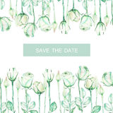 A decorative place (banner) with an ornament of the watercolor tender green roses for a text, wedding invitation Stock Images