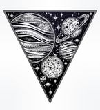 Decorative planets in solar system in triangle. Decorative planets in solar system with scacred geometry triangle shape. Dotwork celestial art. Vintage elegant Stock Photography