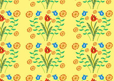 Decorative plants seamless pattern. A vector illustration of several decorative flowers and dandelion heads Royalty Free Stock Photos