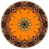 Decorative plate with beautiful ornament. Round rug. Stylized pumpkin.  vector illustration