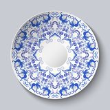 Decorative plate with a blue ornament of birds and flowers. Template design in ethnic style Gzhel porcelain painting. Vector illustration royalty free illustration