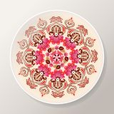 Decorative plate with bright floral mandala. Colorful round ornament. Vector illustration royalty free illustration