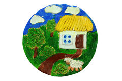 Decorative plate. Children art. Ukrainian style Royalty Free Stock Image