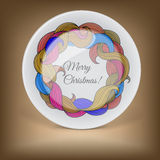 Decorative plate with Christmas wreath Stock Photo