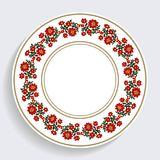 Decorative plate with a circular pattern. Blue background. Vector illustration. stock illustration