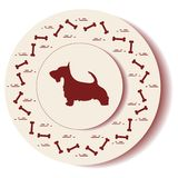 Decorative plate with dog silhouette and bones. Design for banner, poster or print stock illustration