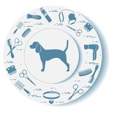 Decorative plate with dog silhouette, combs, collar, leash, razo. R, hair dryer, scissors. Design for banner, poster or print royalty free illustration