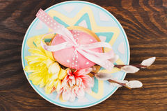 Decorative plate with Easter egg Royalty Free Stock Image