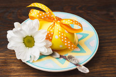 Decorative plate with Easter egg Stock Photo