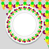 Decorative plate on gray background, top view.  vector illustration