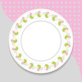 Decorative plate on gray background, top view Royalty Free Stock Photo