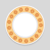 Decorative plate on gray background, top view.  stock illustration