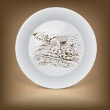 Decorative plate with image of farmhouse. Stock Images