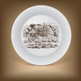Decorative plate with image of farmhouse. Royalty Free Stock Images