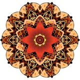 Decorative plate with red tulip and round ornament in ethnic style. Mandala flower pattern. Beautiful collection.  stock illustration