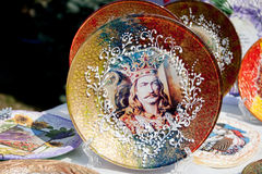 On a decorative plate shows Stephen the Great. Royalty Free Stock Image