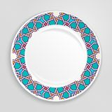 Decorative plate, top view. Stock Photo