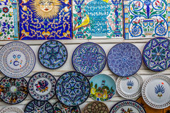 Decorative plates on a typical bazaar in Tunisia, Africa Stock Photography