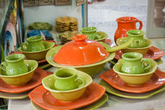 Decorative plates on a typical bazaar in Tunisia, Africa Stock Images