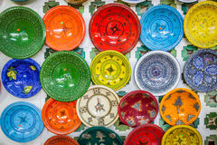 Decorative plates on a typical bazaar in Tunisia, Africa Royalty Free Stock Images