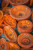 Decorative plates on a typical bazaar in Tunisia, Africa Stock Image